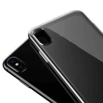 iPhone X ümbris Baseus Simple Gel TPU silikoon must 3