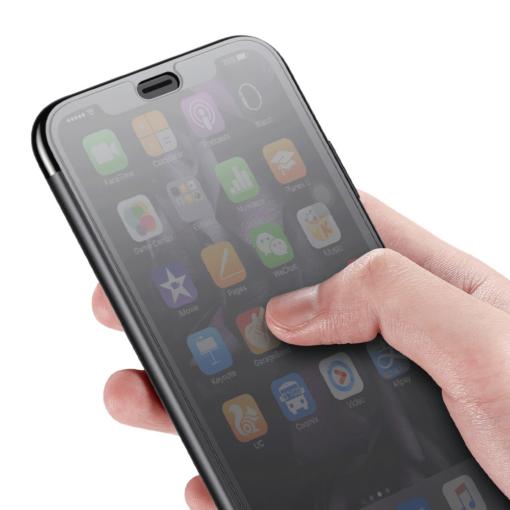 iPhone X kaaned Baseus Touchable Case TPU Flip kaitseklaasiga must 2