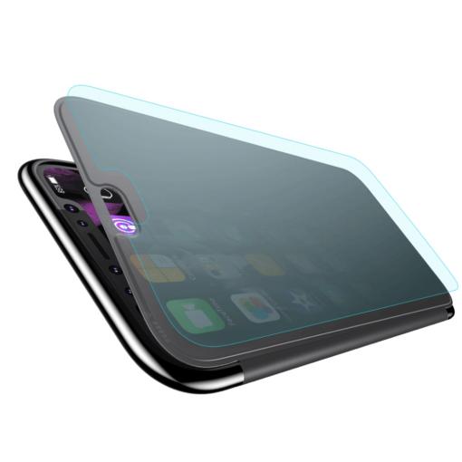 iPhone X kaaned Baseus Touchable Case TPU Flip kaitseklaasiga must 3