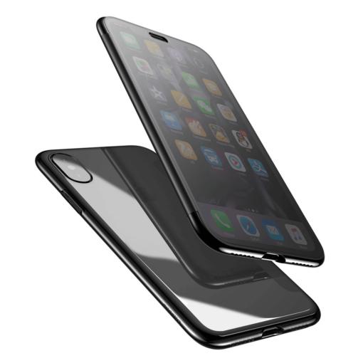 iPhone X kaaned Baseus Touchable Case TPU Flip kaitseklaasiga must 6