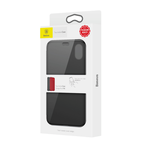 iPhone X kaaned Baseus Touchable Case TPU Flip kaitseklaasiga must 9