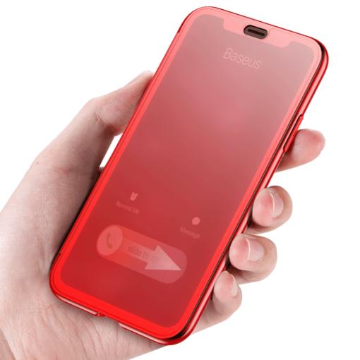 iPhone X kaaned Baseus Touchable Case TPU Flip kaitseklaasiga punane 1