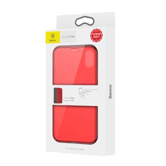 iPhone X kaaned Baseus Touchable Case TPU Flip kaitseklaasiga punane 10