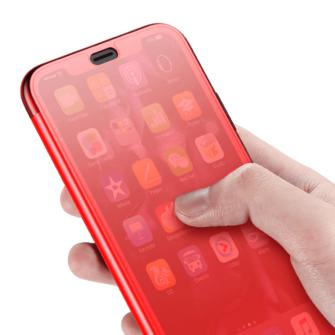 iPhone X kaaned Baseus Touchable Case TPU Flip kaitseklaasiga punane 2