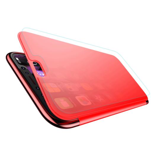 iPhone X kaaned Baseus Touchable Case TPU Flip kaitseklaasiga punane 3