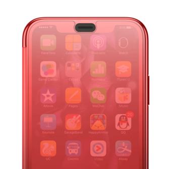 iPhone X kaaned Baseus Touchable Case TPU Flip kaitseklaasiga punane 4