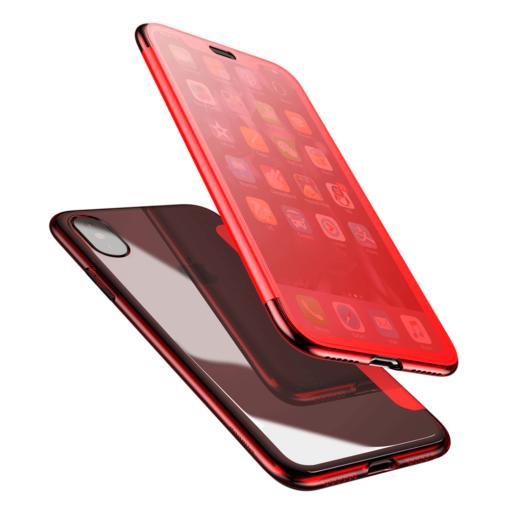 iPhone X kaaned Baseus Touchable Case TPU Flip kaitseklaasiga punane 6