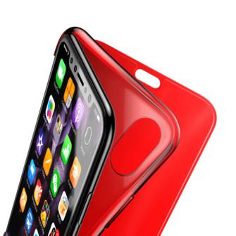 iPhone X kaaned Baseus Touchable Case TPU Flip kaitseklaasiga punane 7