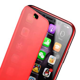 iPhone X kaaned Baseus Touchable Case TPU Flip kaitseklaasiga punane 8