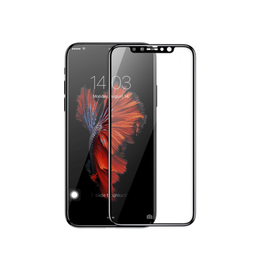 iPhone X kaitseklaas Baseus Silk täisekraan ekraanikaitse must
