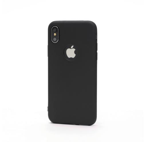 iPhone X must silikoonist ümbris logo auguga