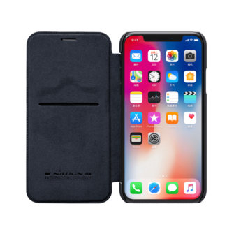 iPhone X ümbris kaaned Nillkinn Qin nahk leather must 5