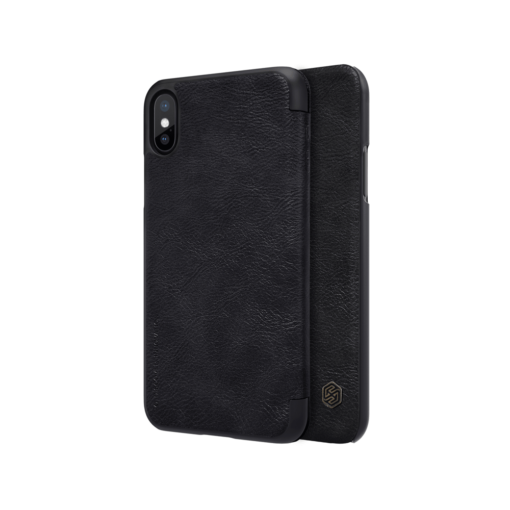 iPhone X ümbris kaaned Nillkinn Qin nahk leather must