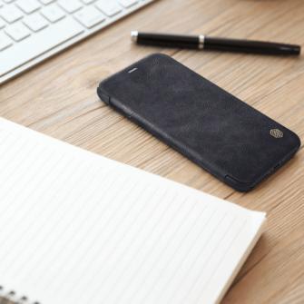 iPhone X ümbris kaaned Nillkinn Qin nahk leather must 6