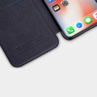 iPhone X ümbris kaaned Nillkinn Qin nahk leather must 7
