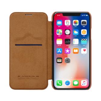 iPhone X ümbris kaaned Nillkinn Qin nahk leather pruun 5