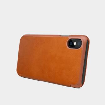 iPhone X ümbris kaaned Nillkinn Qin nahk leather pruun 9