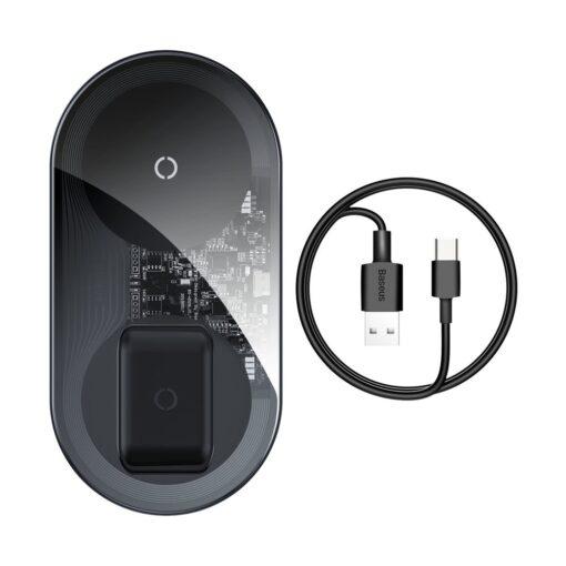 Juhtmevaba laadija ja laadimisalus iPhone Samsung Huawei Apple Airpods 15W 2in1 11