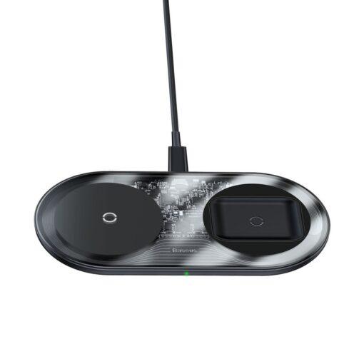 Juhtmevaba laadija ja laadimisalus iPhone Samsung Huawei Apple Airpods 15W 2in1 12