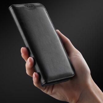 Samsung A40 kolme kaarditaskuga nahast kaaned musta värvi 10