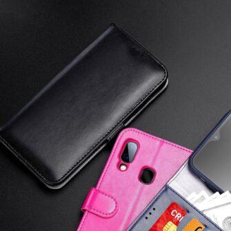 Samsung A40 kolme kaarditaskuga nahast kaaned musta värvi 12