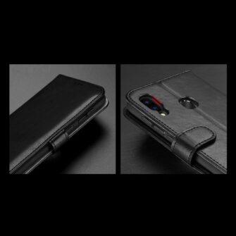 Samsung A40 kolme kaarditaskuga nahast kaaned musta värvi 13