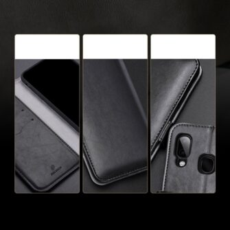 Samsung A40 kolme kaarditaskuga nahast kaaned musta värvi 14
