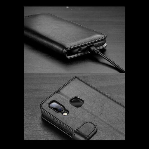 Samsung A40 kolme kaarditaskuga nahast kaaned musta värvi 15