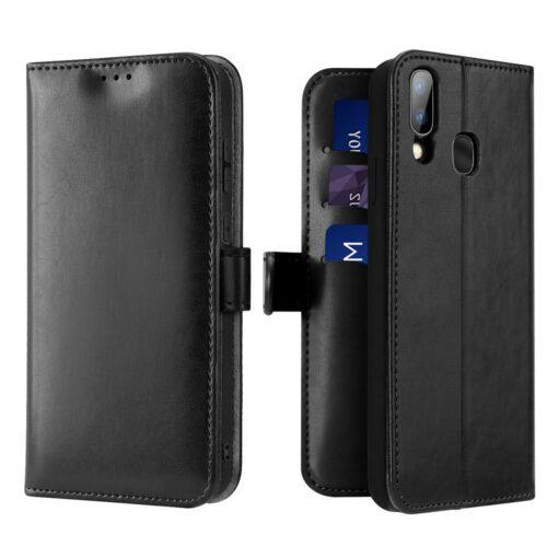 Samsung A40 kolme kaarditaskuga nahast kaaned musta värvi 2