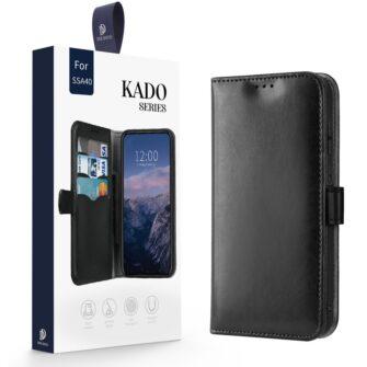 Samsung A40 kolme kaarditaskuga nahast kaaned musta värvi 4