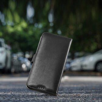 Samsung A40 kolme kaarditaskuga nahast kaaned musta värvi 5
