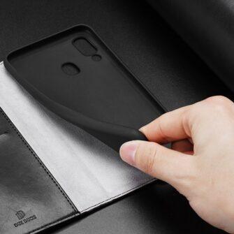 Samsung A40 kolme kaarditaskuga nahast kaaned musta värvi 6