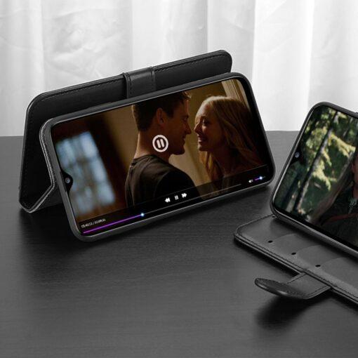 Samsung A40 kolme kaarditaskuga nahast kaaned musta värvi 8