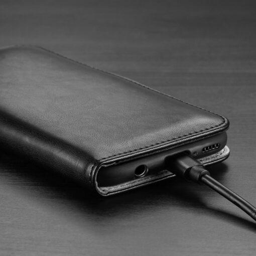Samsung A40 kolme kaarditaskuga nahast kaaned musta värvi 9