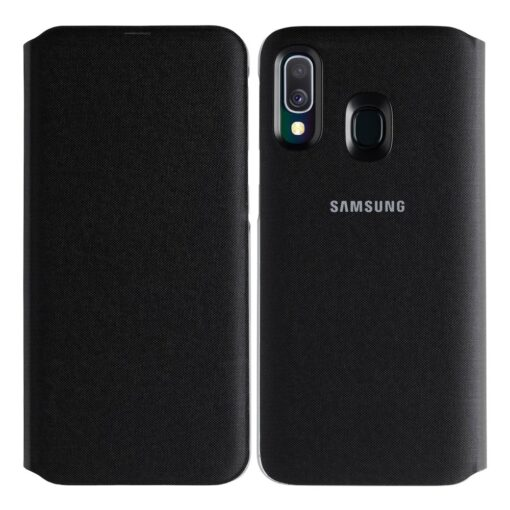 Samsung A40 wallet kaaned musta värvi