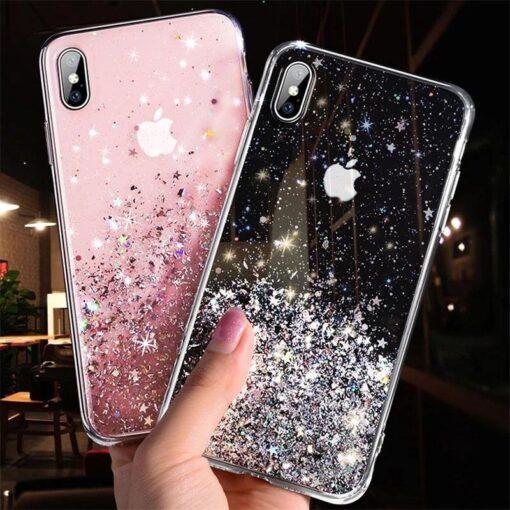 iPhone 11 ümbris sädelev tähtedega silikoonist must2