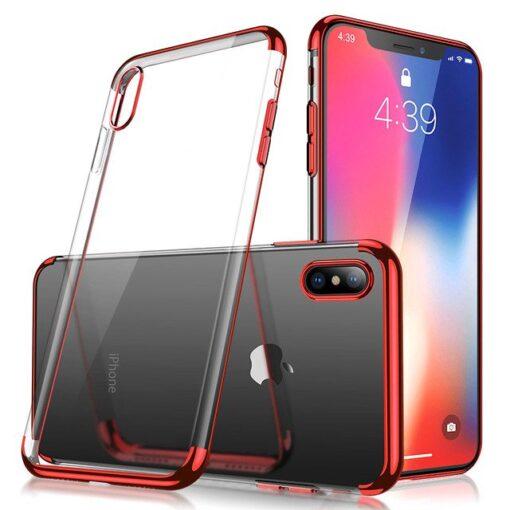 iPhone XS ja X ümbris silikoonist punaste servadega 2