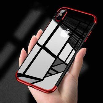 iPhone XS ja X ümbris silikoonist punaste servadega 5