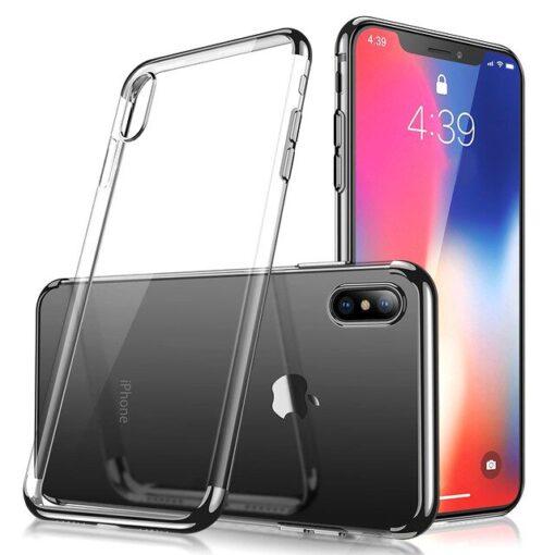 iPhone XS ja X kaaned silikoonist läikivate servadega must