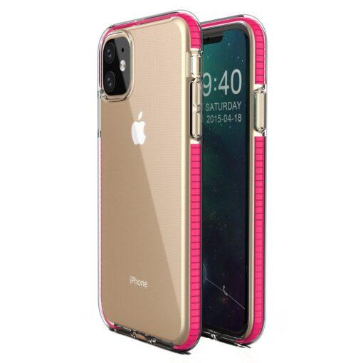 iPhone 11 silikoonist ümbris roosa servaga