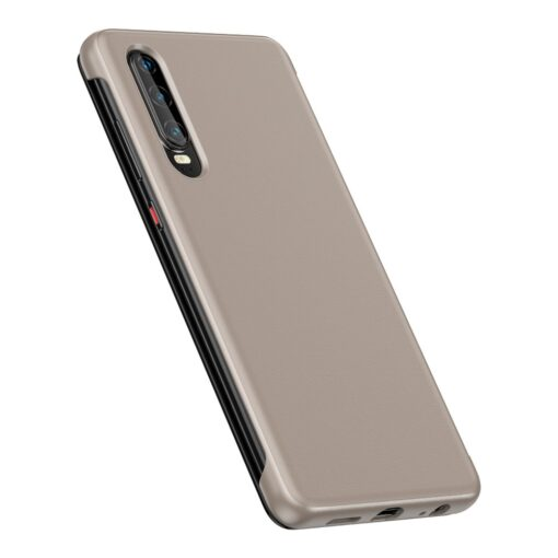 Huawei P30 Smart View Flip Cover Bookcase kaaned Smart Window khaki 5