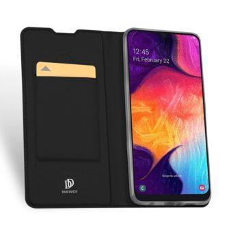 Samsung A50 kaaned nahast musta värvi eest ja tagant kaarditaskuga