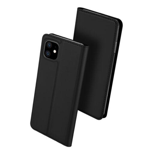 iPhone 11 nahast kaaned kaarditaskuga DUX DUCIS kunstahast must 1