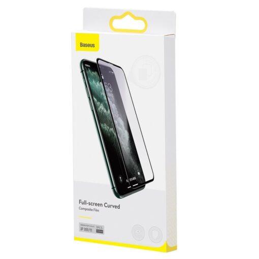 iPhone XR kaitseklaas 3D ekraanikaitse Baseus paigaldusraamiga 5