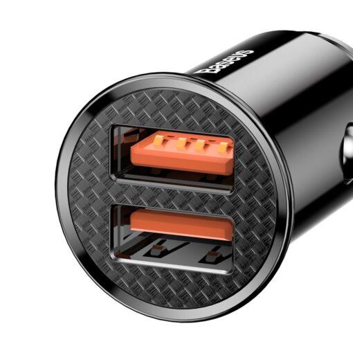 Baseus Circular Unisersaalne autolaadija USB adapter must 1