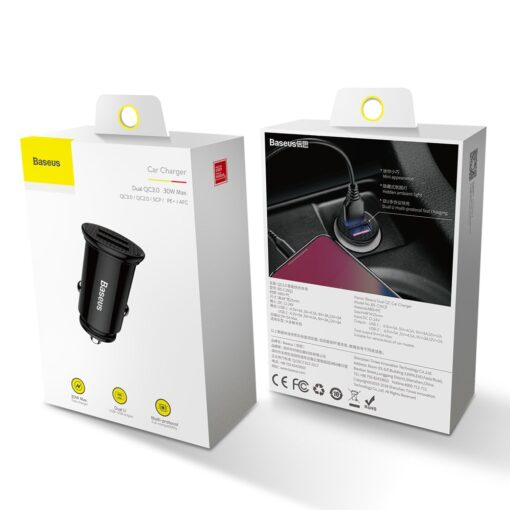 Baseus Circular Unisersaalne autolaadija USB adapter must 10