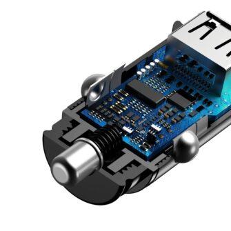Baseus Circular Unisersaalne autolaadija USB adapter must 2