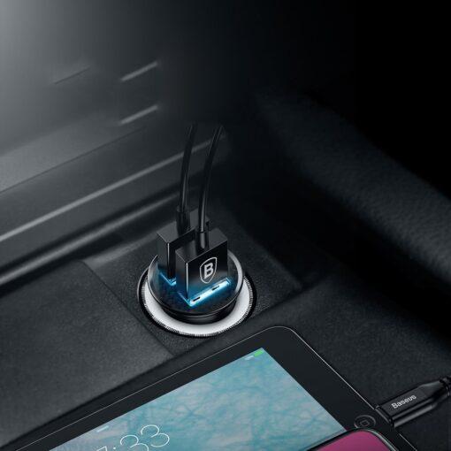 Baseus Circular Unisersaalne autolaadija USB adapter must 3