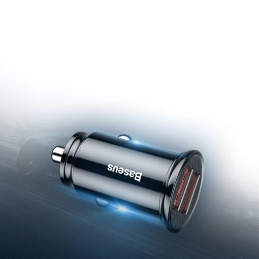 Baseus Circular Unisersaalne autolaadija USB adapter must 5