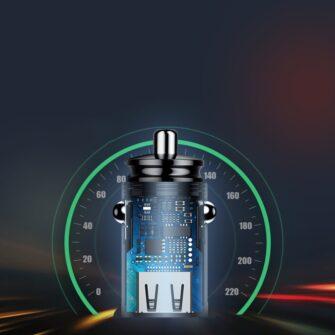 Baseus Circular Unisersaalne autolaadija USB adapter must 7